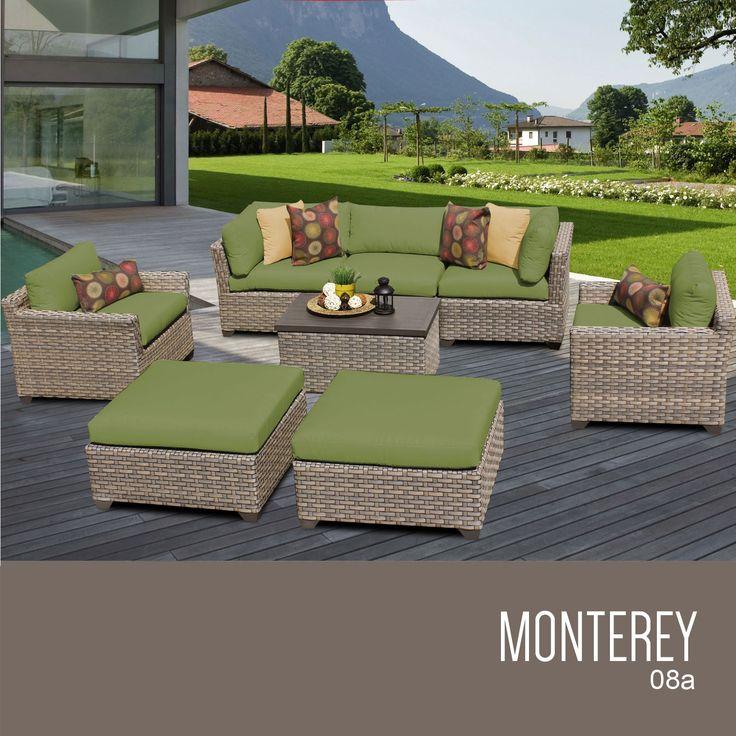 TKC Monterey 8 Piece Outdoor Wicker Furniture Conversation Set 08a, Cilantro
