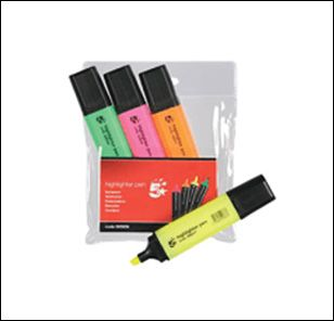 Buy this 4 pack 5 star assorted office highlighters with chisel tip & pocket clip on cap with first class delivery for £3.64 each available at Cartridge Shop.