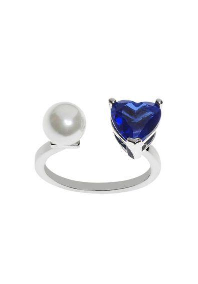 0c92df21d5547 Anel-ajustavel-coracaozinho-azul-safira-e-de-perola-semi-joia   Anéis Joias  e Semi Joias Waufen   Pinterest   Anel ajustável, Semi joias e Safira