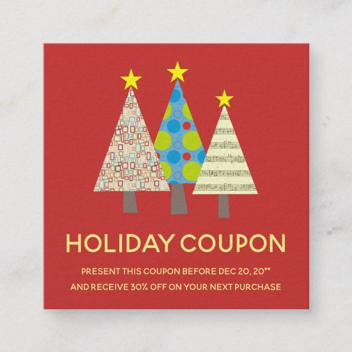 Red Christmas Tree Holiday Coupon Discount Card Zazzle Com Holiday Coupons Red Christmas Tree Christmas Coupons