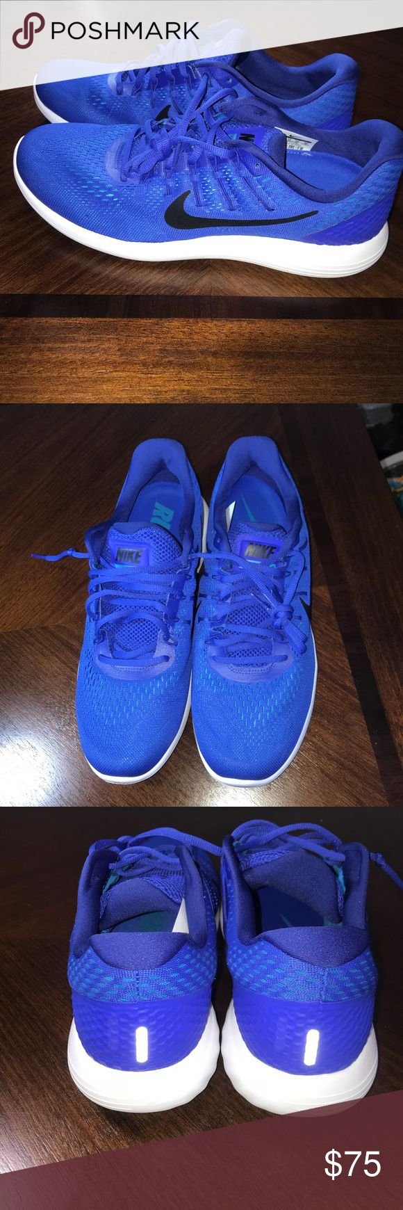 Nike lunarglide 8 Mens running shoes blue size 12 Nike lunarglide 8 Mens running shoes blue size 12 wit dynamic support. Mesh with rubber protect over mesh on heals. Brand new never worn. Do not have box. Nike Shoes Athletic Shoes