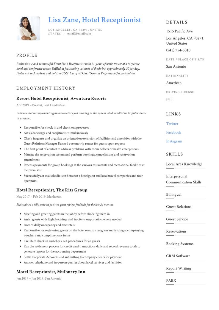 Hotel Receptionist Resume & Writing Guide in 2020 Office