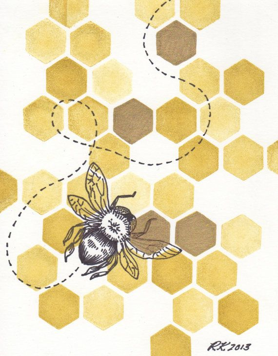 Original Honeybee II Illustration - Matted