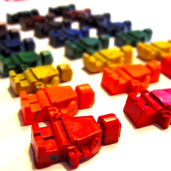 These are crayons but they gave me a cool idea for magnets. Paint lego men and glue a magnet on the back.
