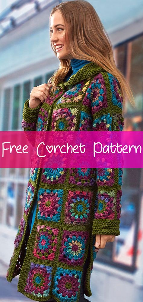 3e3e9a9fde61e7 Sweater Coat in Grannies  CROCHET FREE PATTERN   freecrochetpatterns   crochet  freecrochet