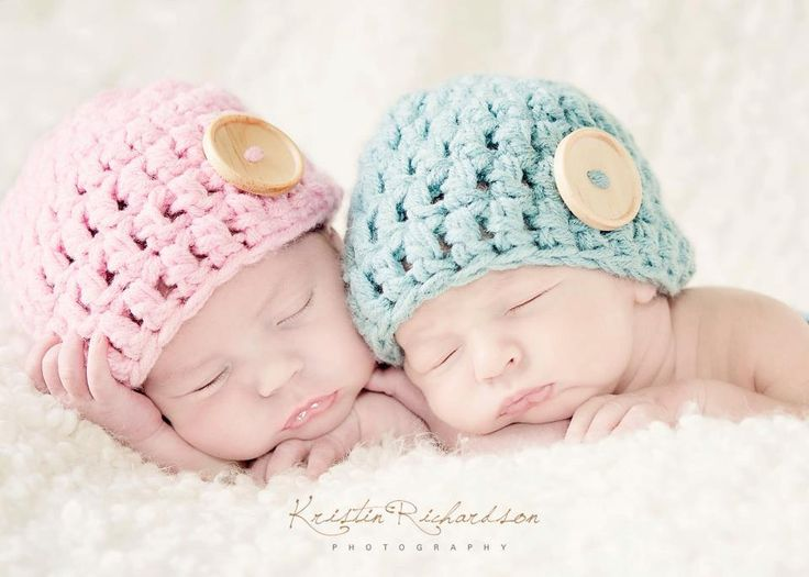 Baby Button Hat for Twins Crochet Newborn by OopsIKnitItAgain