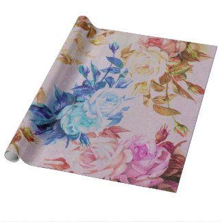 De rustieke roze bloemen van pastelkleur blauwe inpakpapier