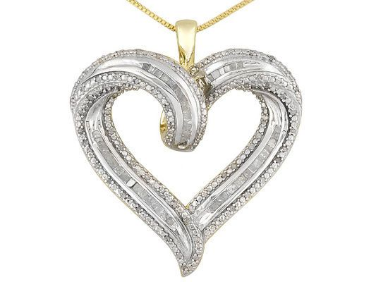 BIG 14K & SS ROUND BAGUETTE DIAMOND HEART NECKLACE 18 INCH + GIFT! #EXCEPTIONALBUY #Tennis