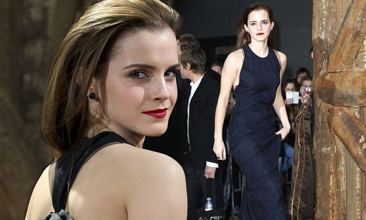 Emma Watson wears sexy cut-out halter neck dress with ribbon detail #DailyMail