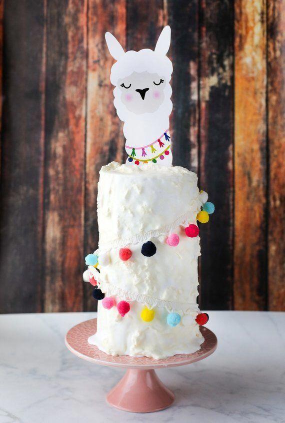 Llama Party Cake Topper   Alpaca Cactus Decorations   Llama Hat Cake Topper