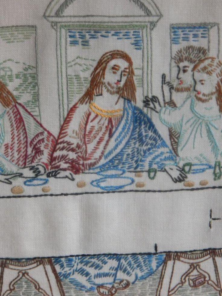 Prim Needlepoint Sampler Jesus Last Supper AAFA Religious Picture Embroidered