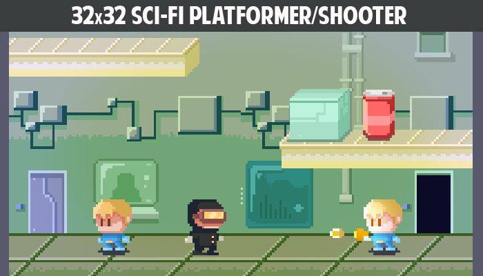 32x32 Sci-fi platformer/shooter gamepack