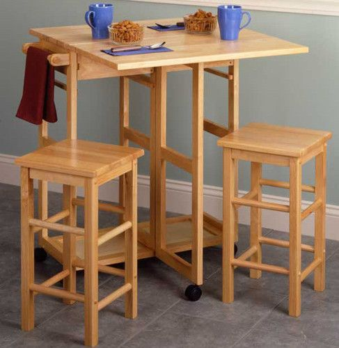Space Saver Drop Leaf Dining Table Square Stools Breakfast Table And
