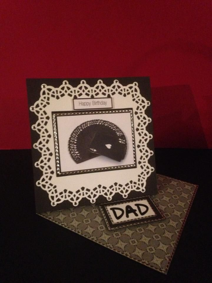 "Black & White Twisted Easel Card. Size is 6""x 6""."