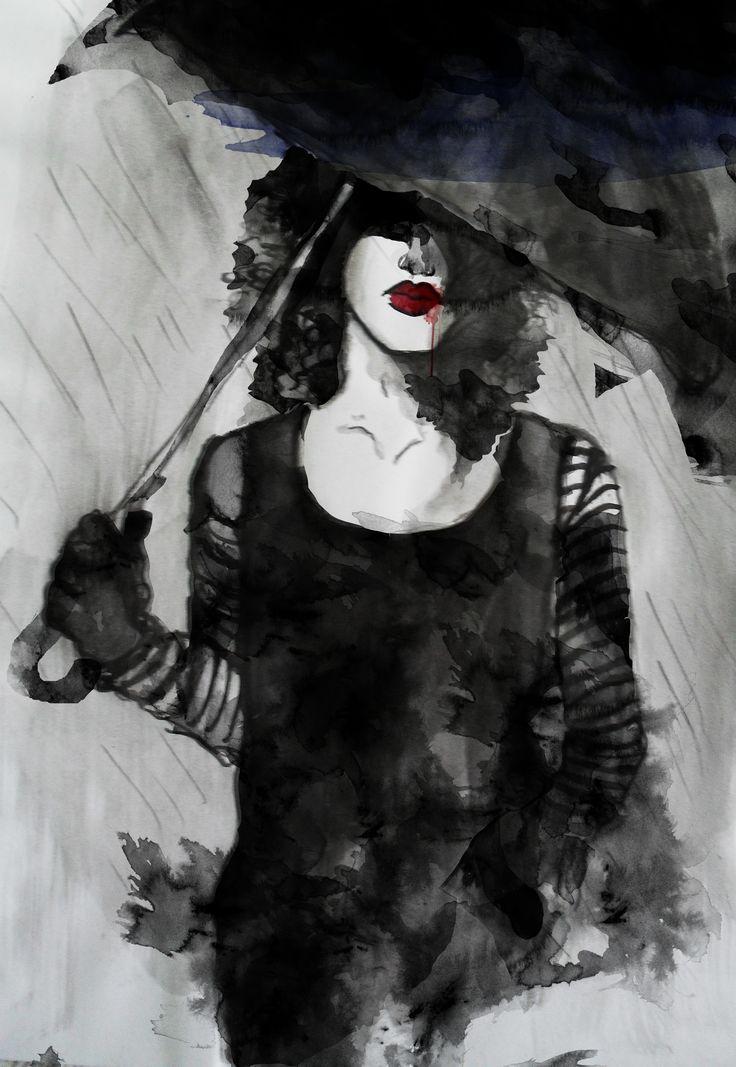 #watercolour #ladyinblack