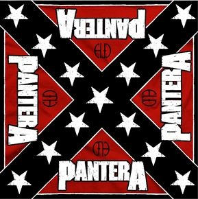 """Official Pantera silk screened cotton bandana featuring Rebel design.  Bandana measures 21.5"""" (54cm) X 21.5 """" (54cm), perfect for head wear or as a banner for your wall"""