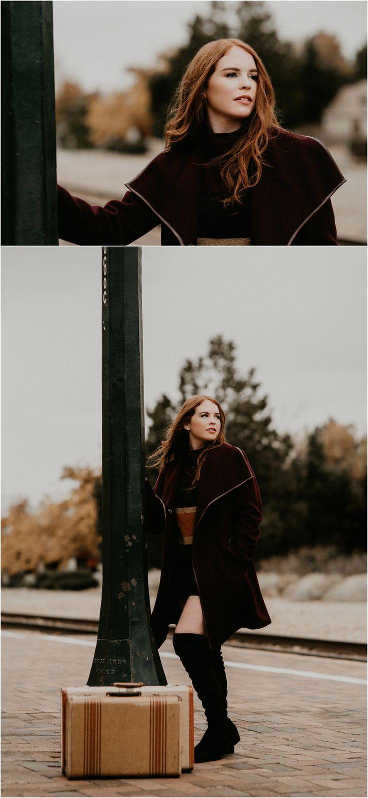 Boise Senior Photographer // Makayla Madden Photography // Eagle High Senior // Red Head // Fall Senior Pics // Fall Senior Picture Outfit and Location Ideas and Inspiration // Urban Senior Pictures // Senior Photography // Vintage Suitcases // Vintage Senior Session // Senior Girl //