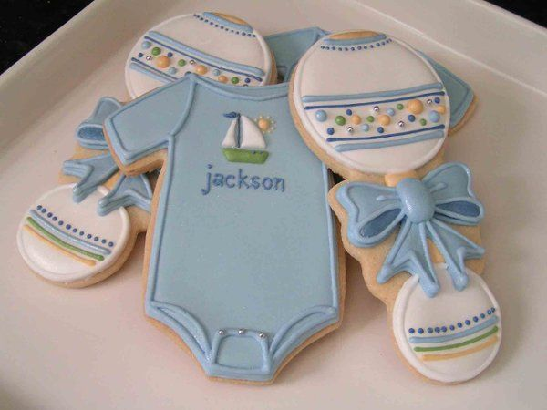 Sweet cookies for a boy baby shower.