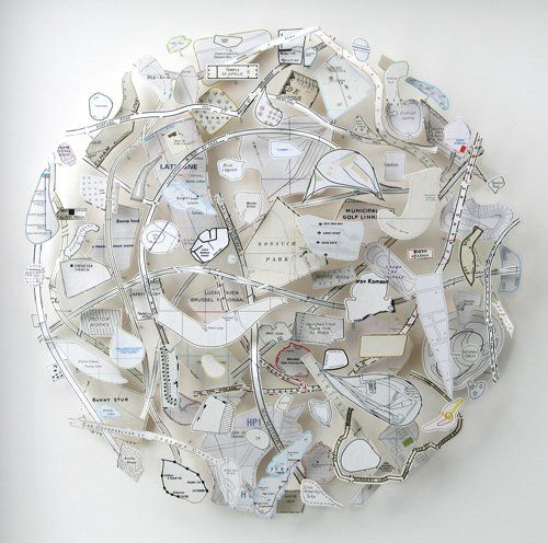 culturaanonima: Chris Kenny, Nonsuch (White Map Circle) 2007, Construction with map pieces