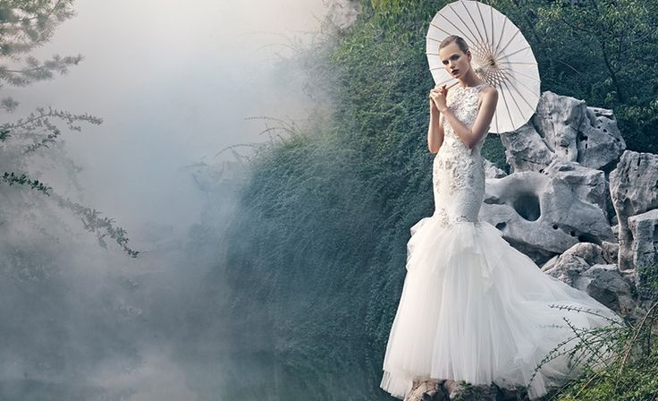 Badly Mischka has launched its Bridal spring 2016 campaign and the dresses are absolutely stunning. Photographed by An Le, the images are captured in a zen-like garden setting with bamboo stalks and plenty of greenery. Every dress looks as light as air with plenty of crystal and lace embellishments. A touch of drama is included …