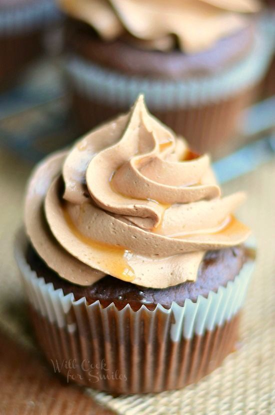 Bourbon Chocolate Cupcakes with Chocolate Buttercream Frosting and Bourbon Glaze from willcookforsmiles.com