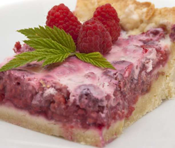 Tart raspberry filling is swirled into a low-fat cream filling in these beautiful bars. They're a festive diabetic treat for a summer picnic or party.