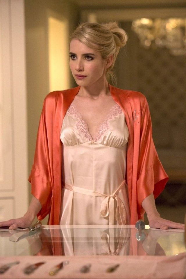 Samantha Bridal Silk Kimono Robe in Coral. Scream Queens