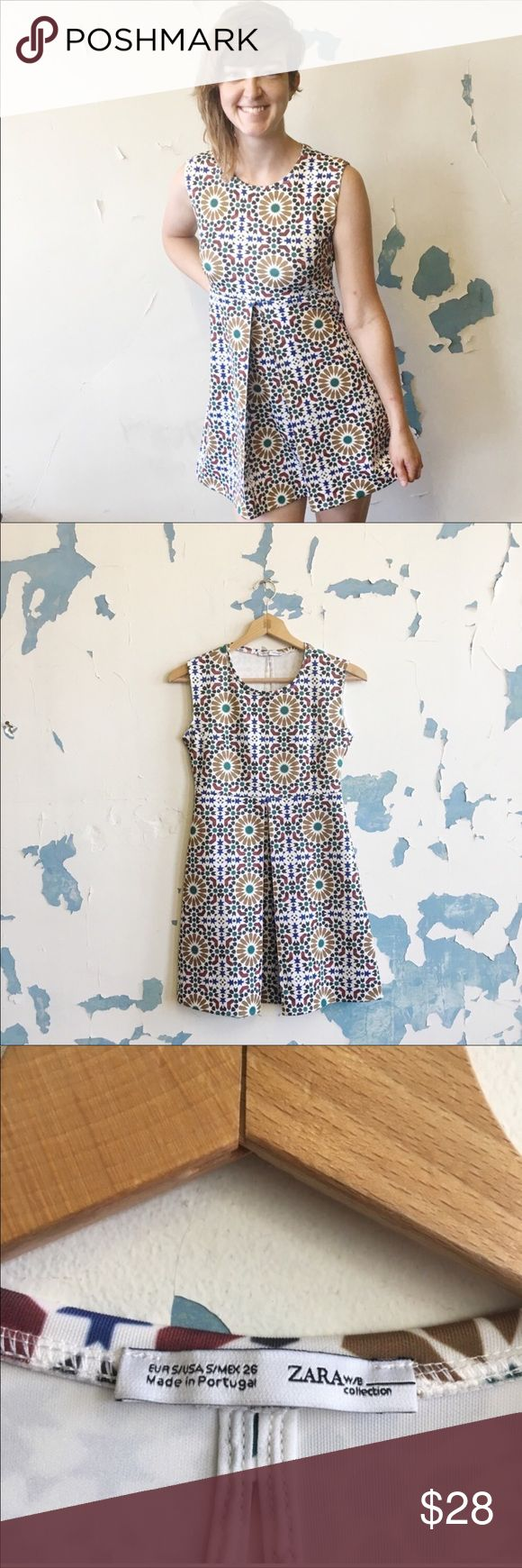Zara   Geometric Aztec Print Neoprene Skater Dress This modern geometric print d…