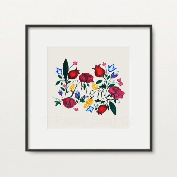 Flower 'MOM'  Art Print by PaperBoatCo on Etsy | http://etsy.me/1QBWWRk