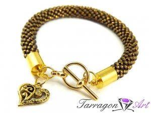 Bransoletka szydełkowo koralikowa Seed Beads - Golden Heart