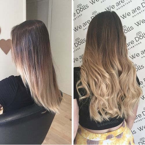 micro bead weave hair extensions in ombre hair