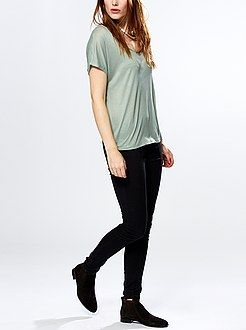 Pantalon - Tregging en twill stretch taille haute  - Kiabi