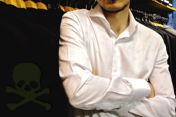 スカルドット・ホリゾンタルカラーシャツ