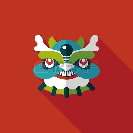 Chinese New Year Flat Icon With Long Shadow, The Dragon And Lion ...