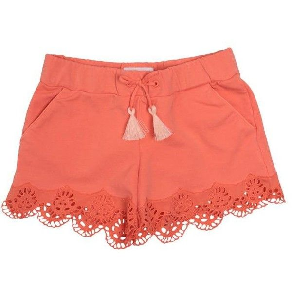 Chloé Lace-trimmed cotton shorts ($111) ❤ liked on Polyvore featuring shorts, bottoms, pink, pink shorts, pink cotton shorts, tassel shorts, drawstring shorts and chloe shorts
