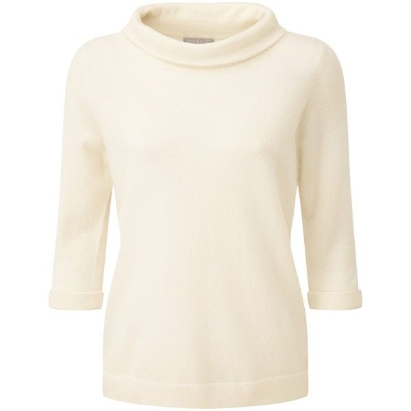Pure Collection Tessa Cashmere Bardot Jumper, Soft White ($130) ❤ liked on Polyvore featuring tops, sweaters, white cashmere sweater, plus size sweaters, white sweaters, cashmere sweater and plus size jumpers