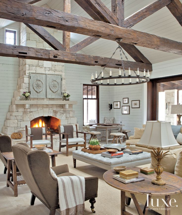 Neutral Transitional Living Room With Stone Fireplace Living Room Design Pinterest