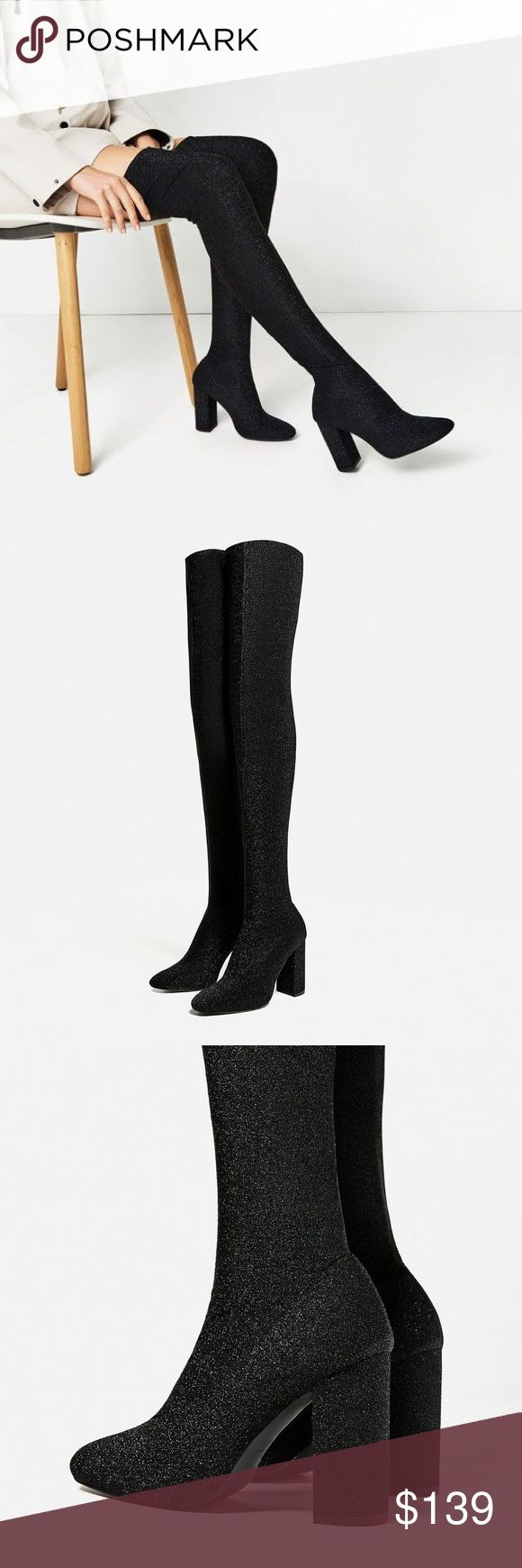 Zara over the knee stretch boots -- size 8 Classy & sexy at same time.... shiny stretch fabric pulls up like stockings.... rounded toes, 3.7 inch heels... euro size 39 Zara Shoes Heeled Boots