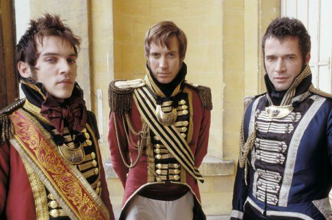 Johnathan Rhys Meyers (George Osborne), Rhys Ifans (William Dobbin) & James Purefoy (Rawdon Crawley) - Vanity Fair directed by Mira Nair (2004) Novel by William Makepeace Thackeray #williammakepeacethackeray: Vanity Fair, James D'Arcy, Vanities, Costume, Movie, James Purefoy, Jonathan Rhys Meyers