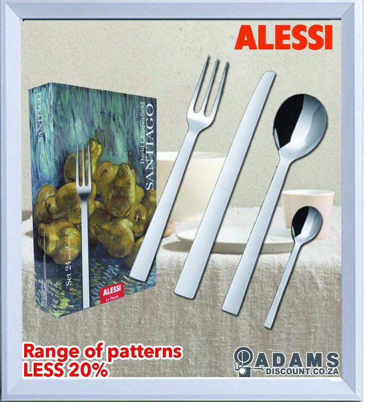From a company founded in 1921 by Giovani Alessi, Adams brings you the range of Alessi Cutlery, in 18 / 10 stainless steel. Own a piece of this history with the beautifully crafted cutlery by various designers is now available at an amazing 20% DISCOUNT! #shoponline #adamsdisount www.adamsdiscount.co.za