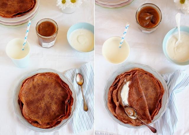 Crepes con farina di castagne e cacao alla crema di marroni - Crepes with chestnut flour and cocoa
