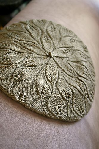 Rustling Leaves is the perfect fall accessory. Knit from the bottom up, this beret features beautiful elongated leaves that slant in different directions as if they were rustling in the wind.