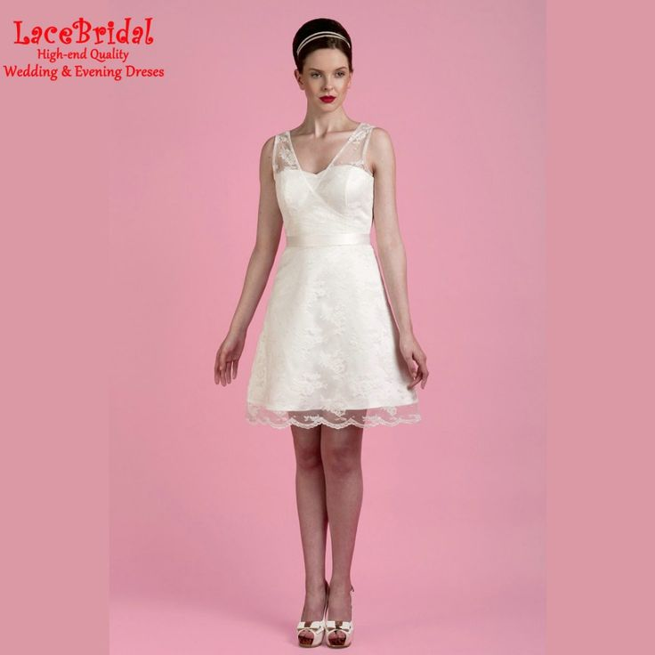 Find More Wedding Dresses Information about Wholesale Elegant A Line V Neck Lace Short Wedding Dresses 206 Outdoor Mini Summer Girl Bridal gowns vestido de noiva curto HW14,High Quality dresse,China dresses prom Suppliers, Cheap dresses maxi from LaceBridal on Aliexpress.com