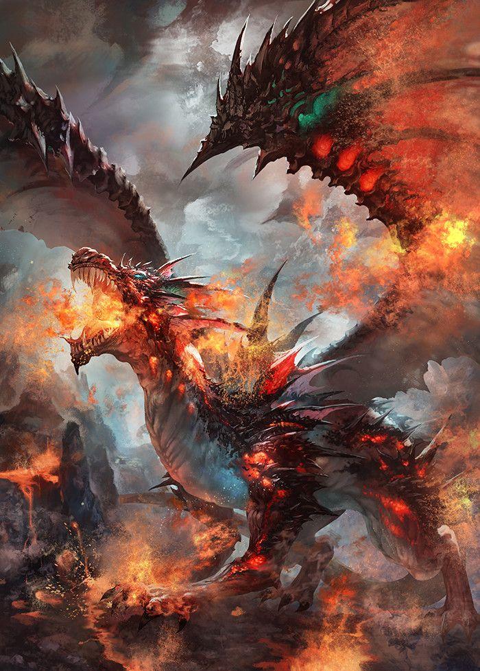 flaming dragon, Antilous chao on ArtStation at https://www.artstation.com/artwork/gyorG