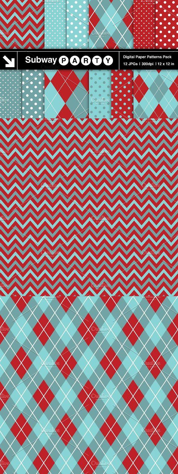 Aqua Red Chevron, Argyle & Polka Dot. Patterns