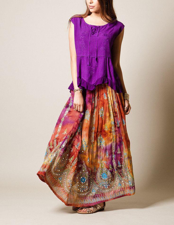 #SivanaWishes Jyoti Skirt - tie-dye orange