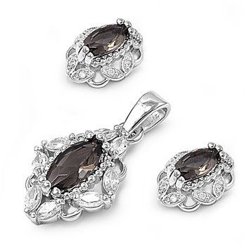 925 Sterling Silver Oval Simulated Smokey Topaz Cubic Zirconia Earrings Necklace Set (FREE 18 Inch Box Chain). 925 Sterling Silver; Back Finding - Post With Friction Back. Lead and Nickel Free. Comes in a Cotton Filled Gift Box. Pendant Height 18 Millimeters; Earring Height 12 Millimeters; Chain Length 18 Inches. Cubic Zirconia.