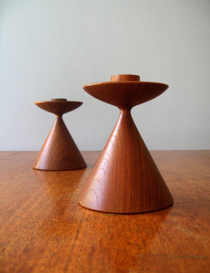 Danish Modern Turned Teak Wood Candle Holders