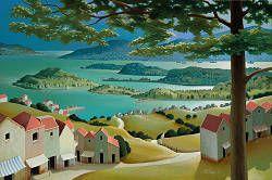 Middaguur in de zomer | schilderij van een landschap in acrylverf van Michiel Schrijver | Exclusieve kunst online te koop bij Galerie Wildevuur