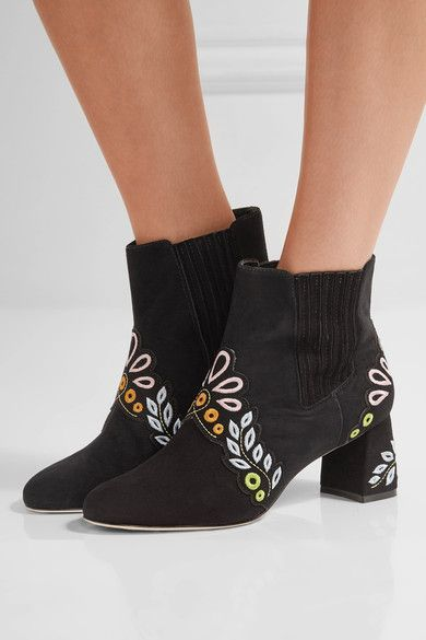 Sophia Webster - Liliana Embroidered Suede Ankle Boots - Black - IT40
